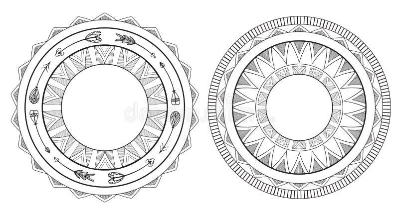 Set czarny i biały boho ramy Miejscowego wzór royalty ilustracja