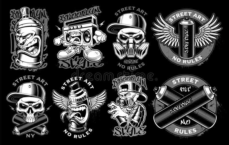 Set czarny i biały graffiti ilustracji