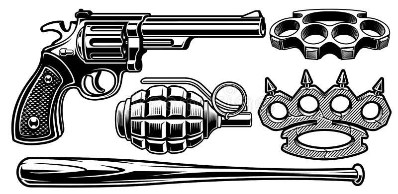 Set czarny i biały ilustracje różne bronie ilustracja wektor