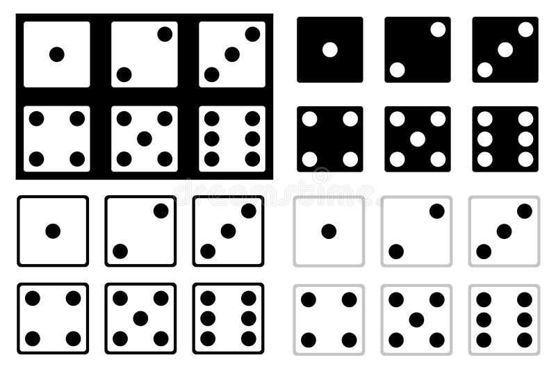 Set czarny i biały kostki do gry royalty ilustracja