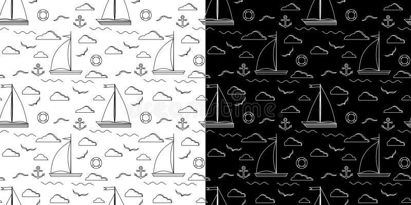 Set czarny i biały kreskowej sztuki wektorowy bezszwowy wzór z jeden dwa żagli żaglówką ilustracja wektor