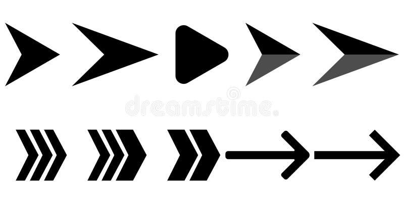 Set czarny i biały nowożytne strzały ilustracja wektor