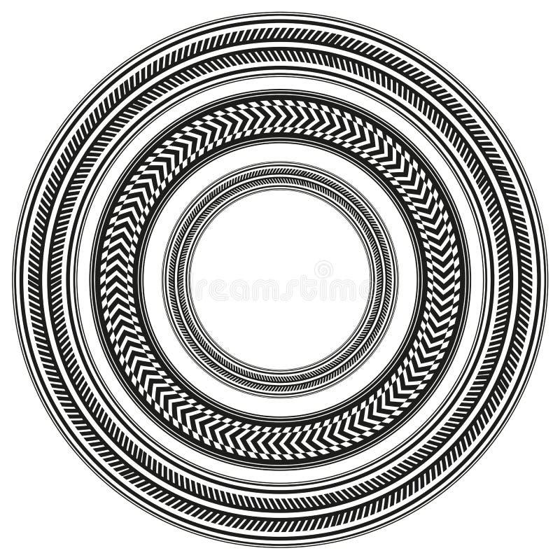 Set czarny i biały opona tropi wokoło ram royalty ilustracja