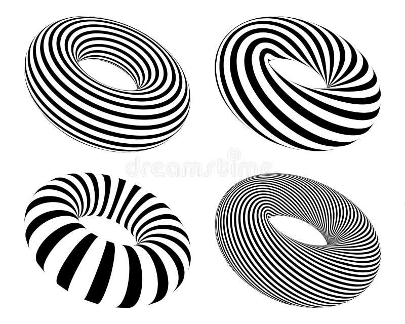 Set czarny i biały pasiasty torus, wektorowi abstrakcjonistyczni donuts ustawia odosobnionego na białym tle royalty ilustracja