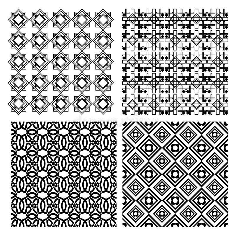 Set czarny i biały prości geometryczni monoline wzory w art deco stylu ilustracja wektor