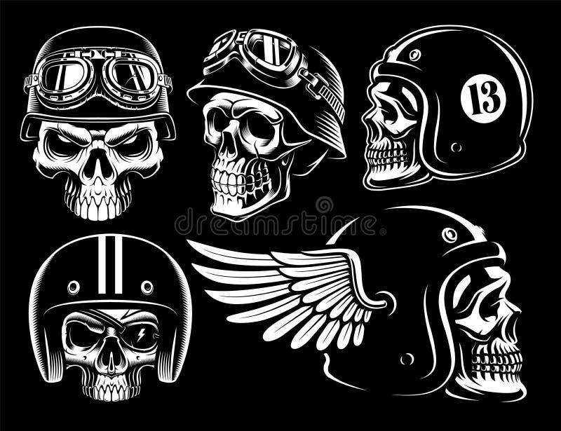 Set czarny i biały rowerzysta czaszki ilustracja wektor