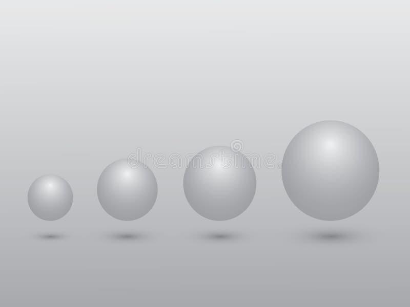 Set czarny i biały sfera od małego duży wielkościowy znaczenie przyrost na szarym tle ilustracji
