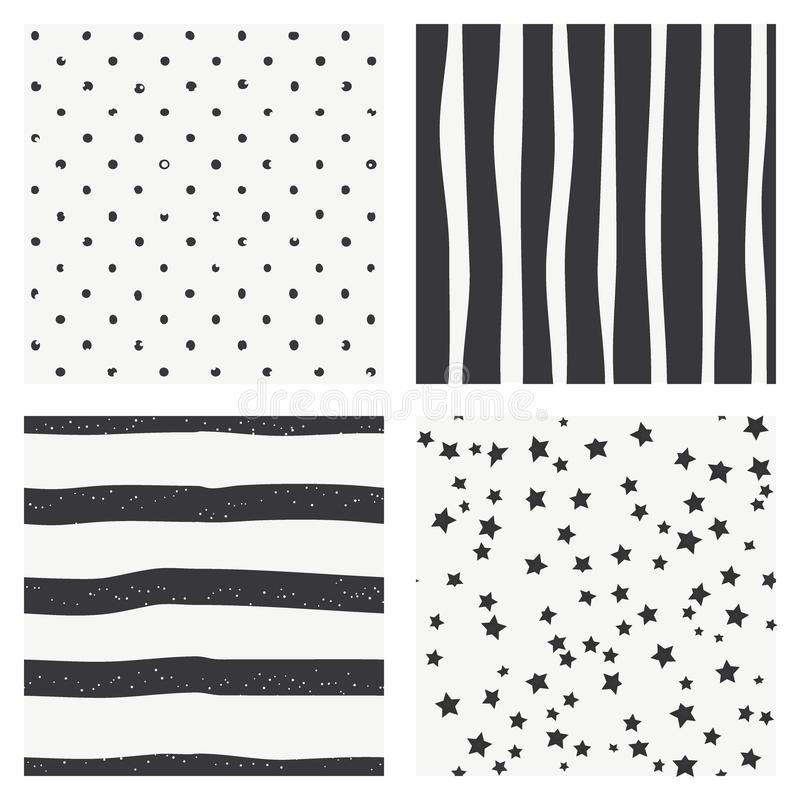 Set 4 czarny i biały Skandynawskiego trendu bezszwowy wzór - czerń lampasy, polek kropek tło, retro czarny i biały textur ilustracja wektor