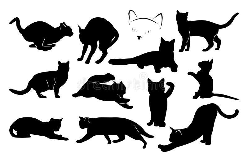 Set czarny kota sylwetki niebieski obraz nieba tęczową chmura wektora royalty ilustracja