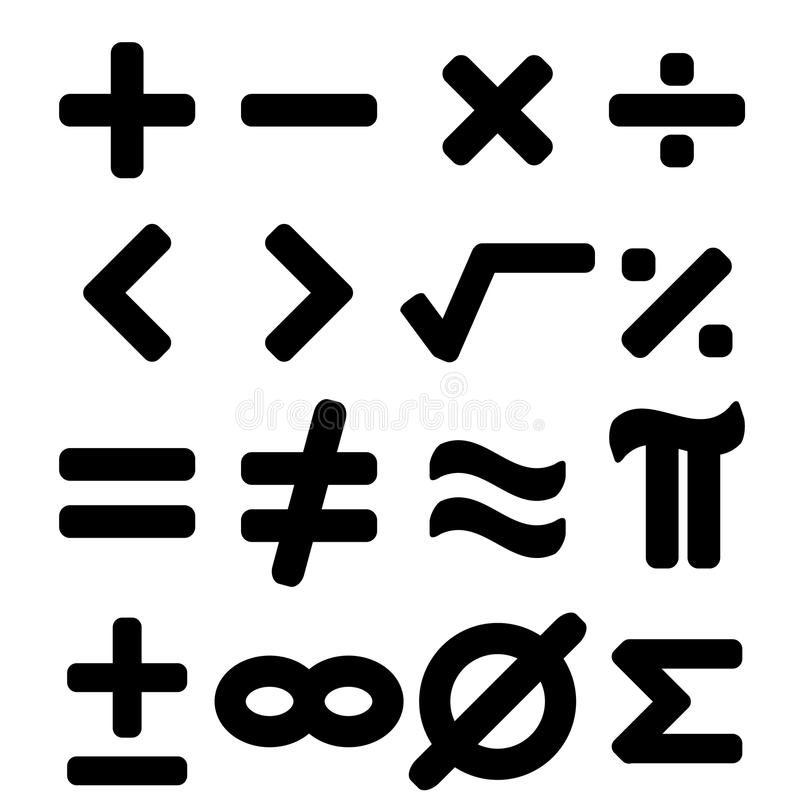 Set czarny matematyka symbolu tło royalty ilustracja
