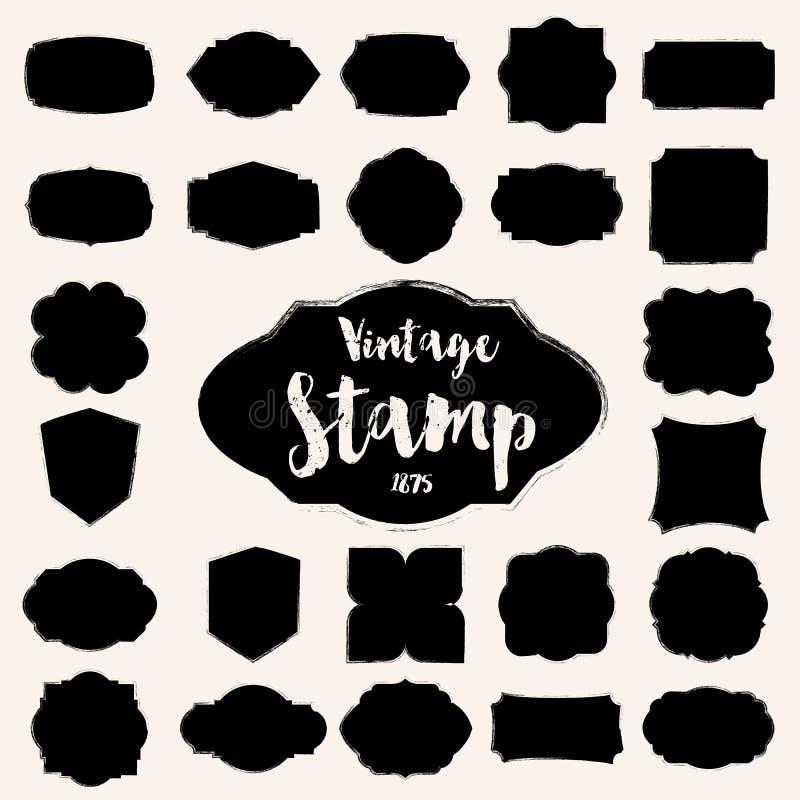 Set czarny rocznika znaczek, puste miejsce rama ilustracja wektor