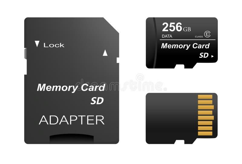 Set czarny standard 256 gb sd pamięci cyfrowe karty stać na czele i popiera z złoto kontaktem z adaptatorem dla sd karty na biały royalty ilustracja