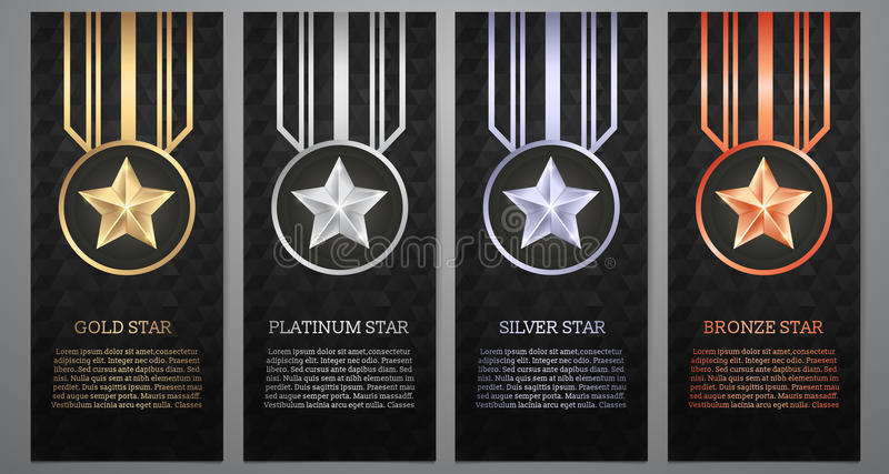 Set czarny sztandar, złoto, platyna, srebro i brąz, gramy główna rolę, Vect ilustracji