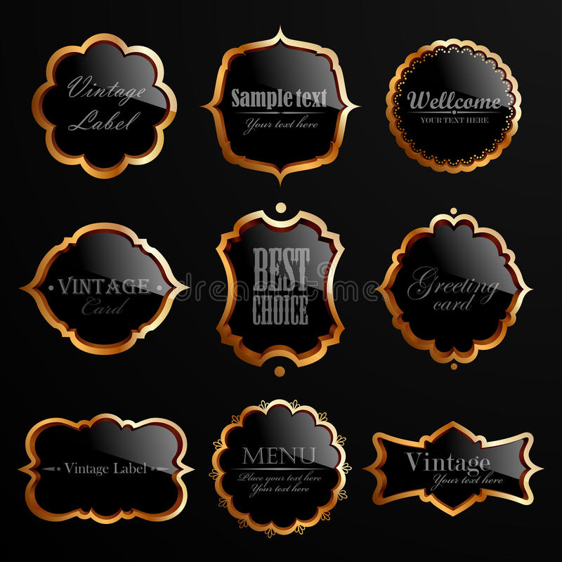 Set czarny złociste etykietki. ilustracja wektor