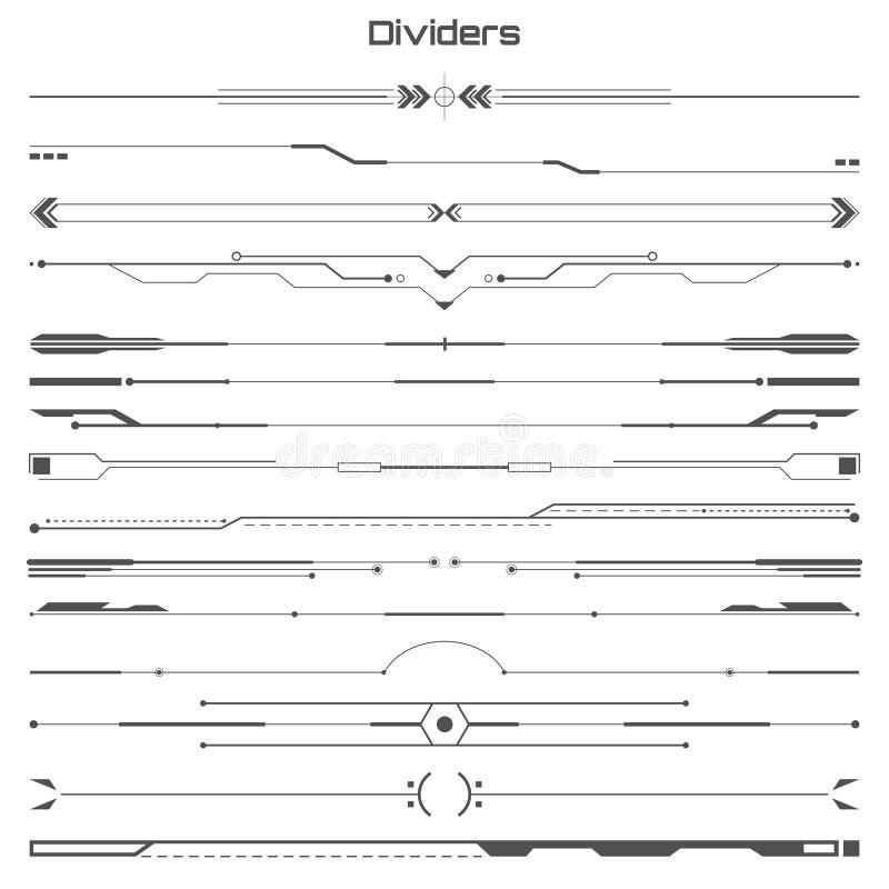 Set czarnych hud dividers infographic elementy Futurystyczny interfejs użytkownika ilustracja wektor