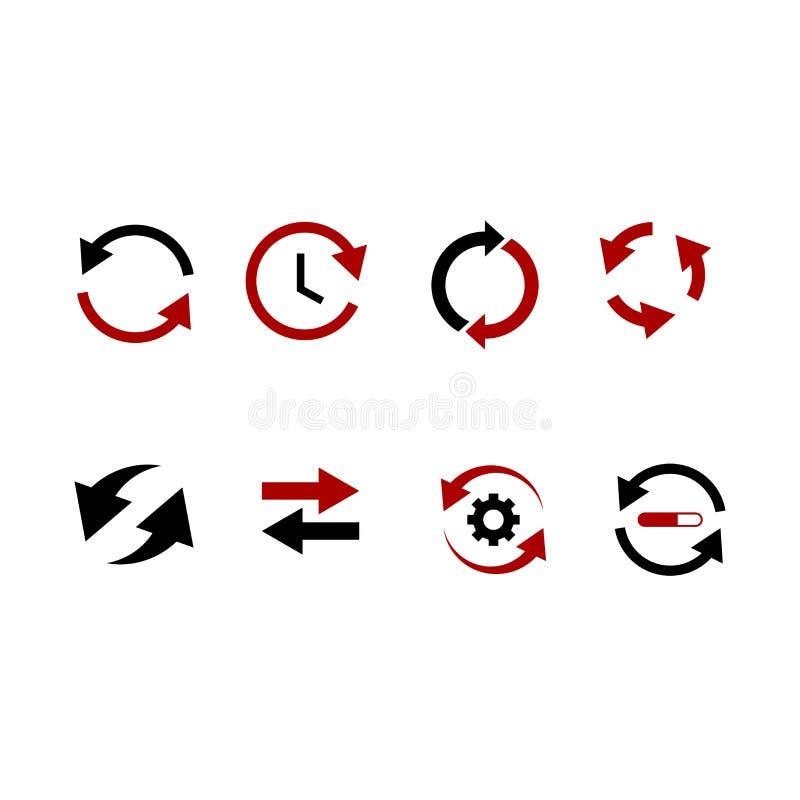 Set czarnych strzałkowatych ikon wektorowe Strzałkowate serie, różnorodni style, czerń, biały na wektorze royalty ilustracja
