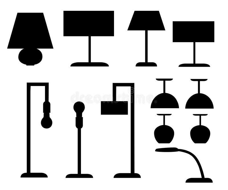 Set czarnych sylwetek różni typ lampowej podłoga i stołowych lamp ilustracja odizolowywająca na białej tło stronie internetowej p ilustracja wektor