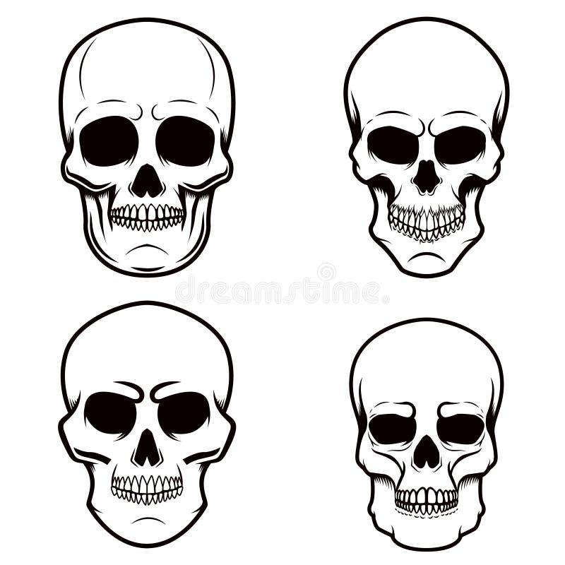 Set czaszek ilustracje na białym tle Projektuje element dla loga, etykietka, emblemat, znak, plakat, t koszula ilustracja wektor