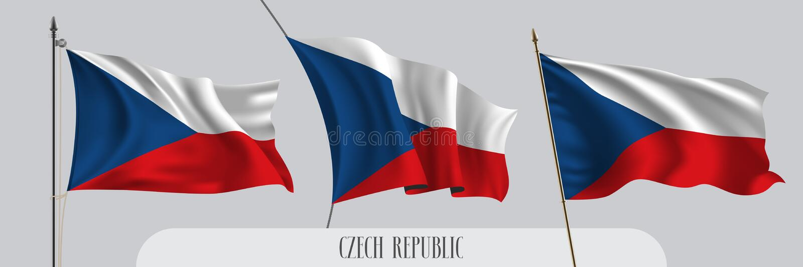 Set of Czech republic waving flag on isolated background vector illustration royalty free illustration