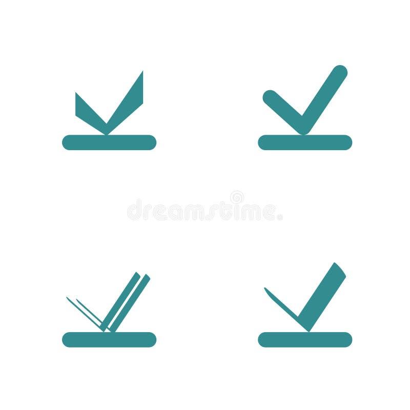 Set czeka pudełko Akceptuje, checkbox lub czeka ocena z linii dnem, ilustracja wektor