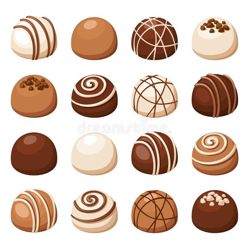 Set czekoladowi cukierki również zwrócić corel ilustracji wektora royalty ilustracja