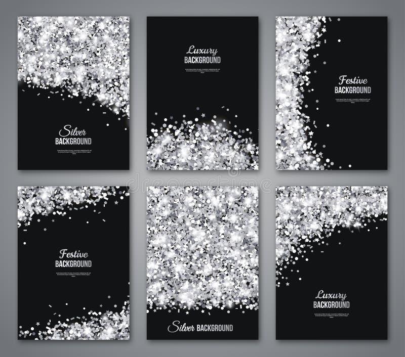 Set czerń i srebro sztandary, kartka z pozdrowieniami royalty ilustracja