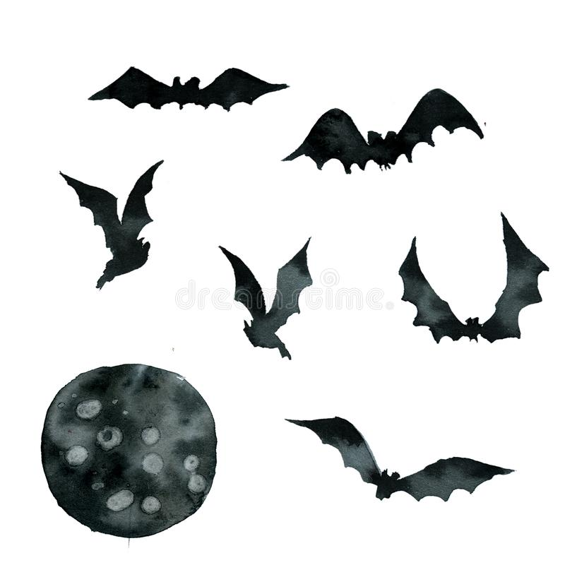 Set czerń uderza w różnych pozach, księżyc ilustracji