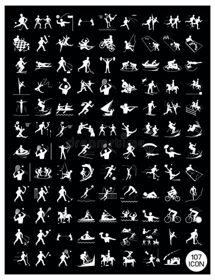 Set czerni i szarość sporta ikony ilustracja wektor