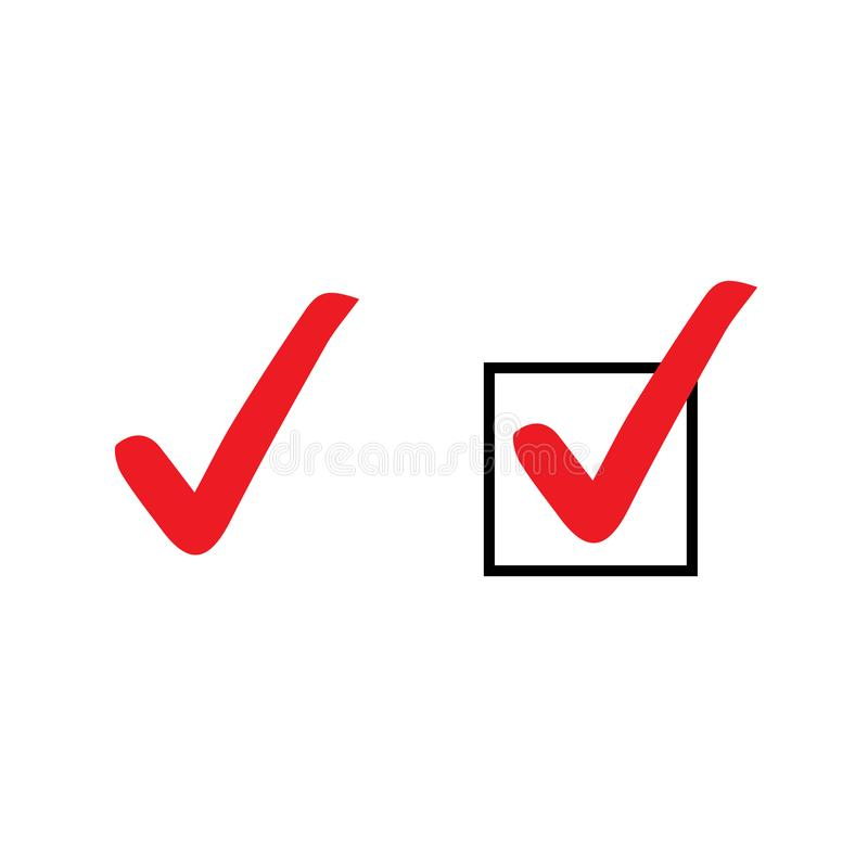 Set czerwień cwelicha ikony Wektorowi symbole ustawiają, checkmarks kolekcja odizolowywająca na białym tle Sprawdzać ikona lub po royalty ilustracja