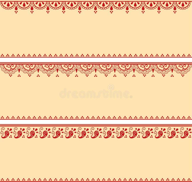Set czerwień i kremowi orientalni henna sztandary ilustracji
