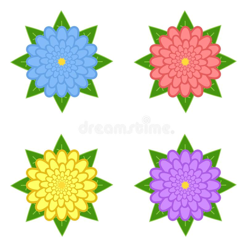 Set czerwień, purpura, kolor żółty, błękit kwitnie z zielonymi liśćmi, odizolowywającymi na białym tle Cztery opci stosowny dla p royalty ilustracja