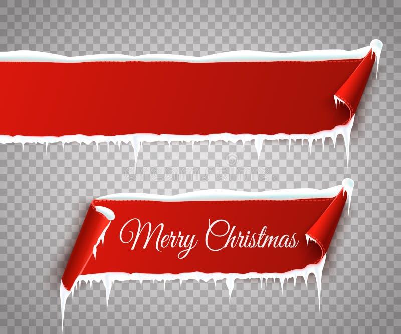 Set czerwień wyginał się papierowych Wesoło bożych narodzeń sztandary z śniegiem i sople odizolowywających na przejrzystym tle we ilustracji