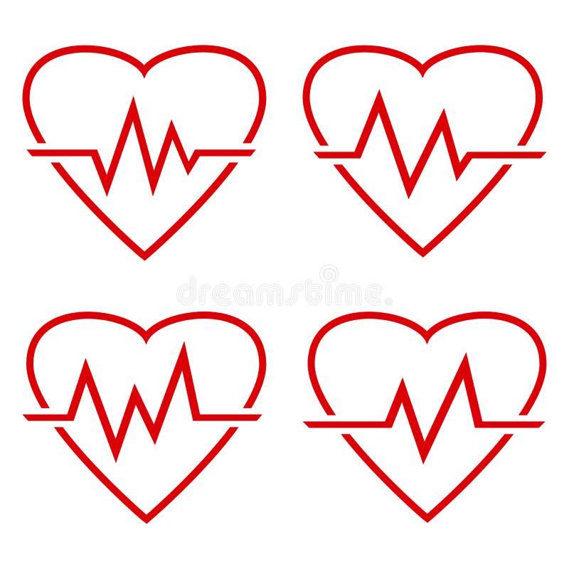 Set czerwona kierowa ikona z szyldowym bicie serca r?wnie? zwr?ci? corel ilustracji wektora ilustracja wektor