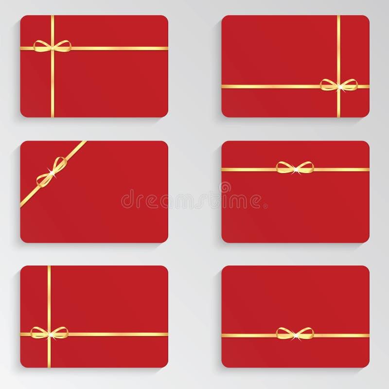 Download Set czerwona prezent karta ilustracja wektor. Ilustracja złożonej z gratulacje - 53775110