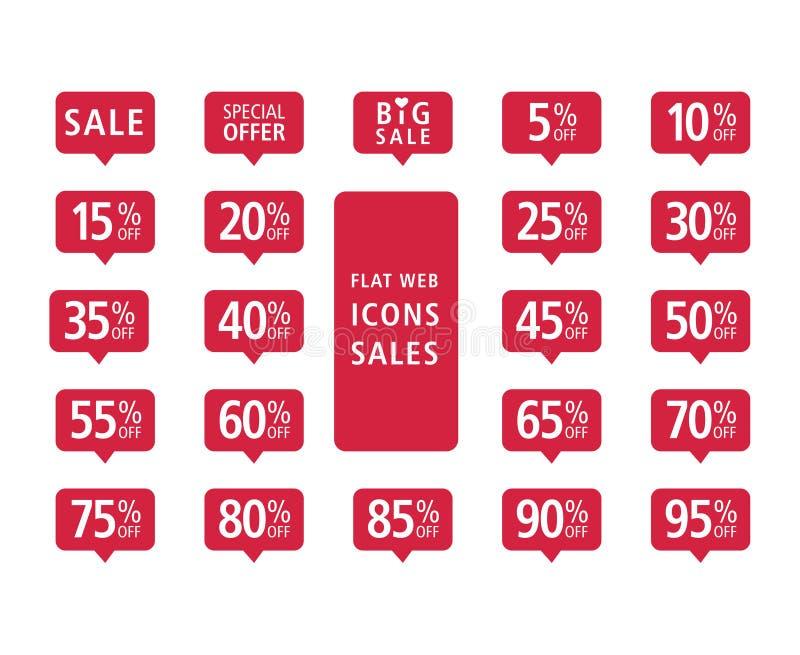 Set czerwonej sieci ikon płaskie sprzedaże ilustracja wektor