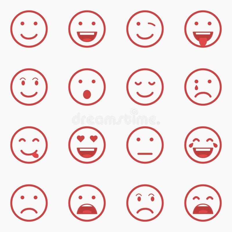 Set czerwoni Emoticons, Emoji i Avatar, Zarysowywa stylową odosobnioną wektorową ilustrację na białym tle ilustracja wektor