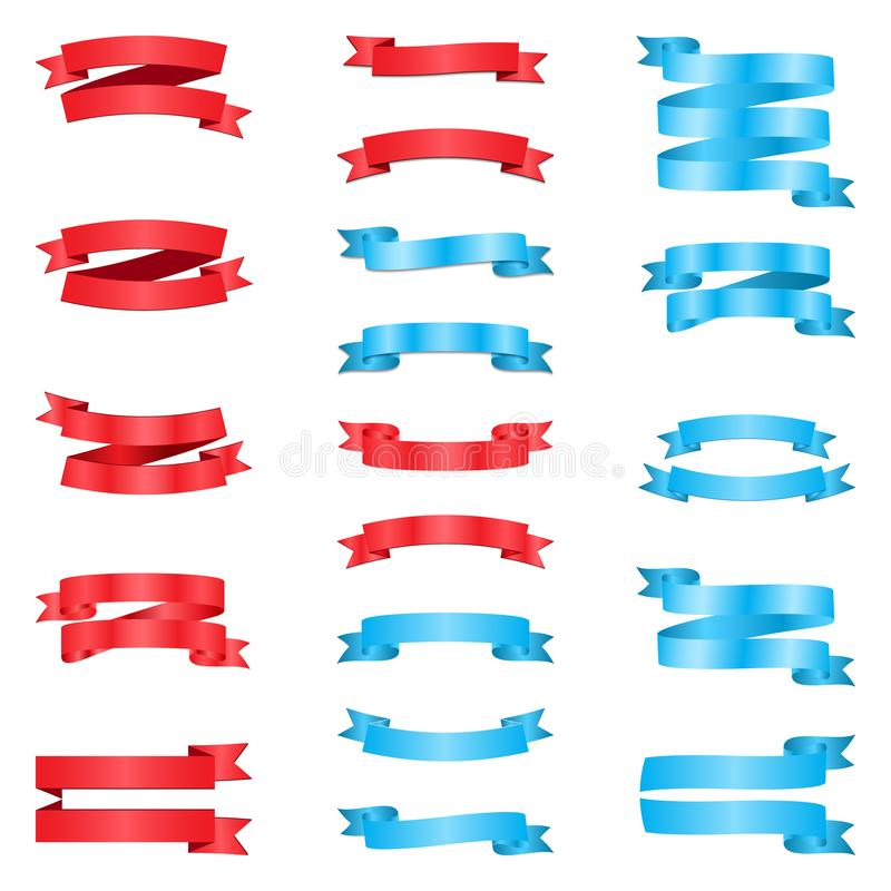 Set czerwoni i błękitni faborki ilustracji