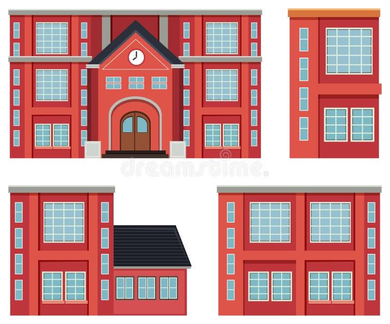 Set czerwony budynku pojęcie ilustracja wektor