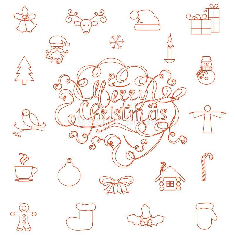 Set czerwonych linii bożych narodzeń ikony Święty Mikołaj, choinka, mitynka, but, bałwan, prezent, rogacz, dzwony, schronienie royalty ilustracja