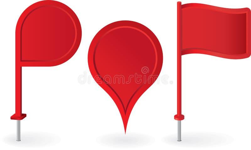 Set czerwonych mapa pointerów wałkowe ikony wektor ilustracji