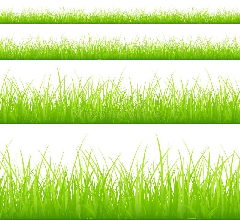 Set Cztery łąk Zielony sztandar Różny Heigths ilustracja wektor