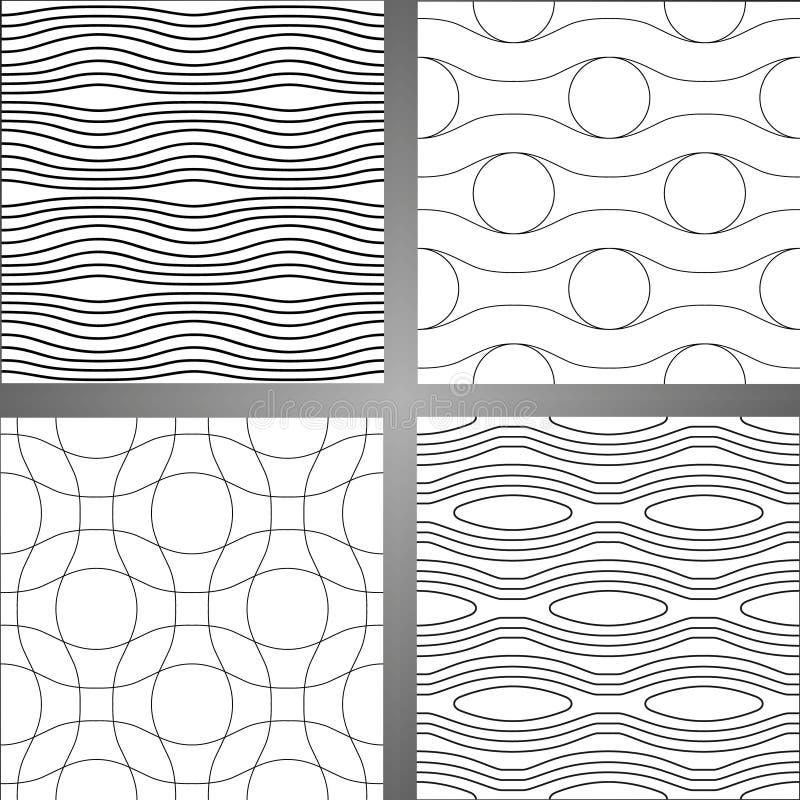 Set cztery abstrakcjonistycznego bezszwowego tła Lampasy i fala na białym tle royalty ilustracja