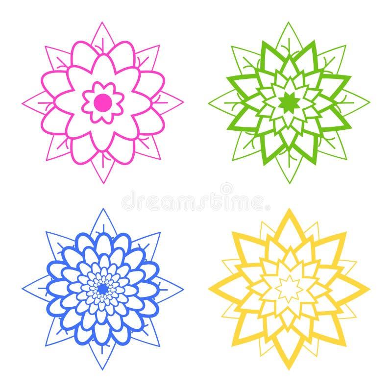 Set cztery abstrakcjonistycznej sylwetki kwiaty błękit, menchia, zieleń, kolor żółty royalty ilustracja