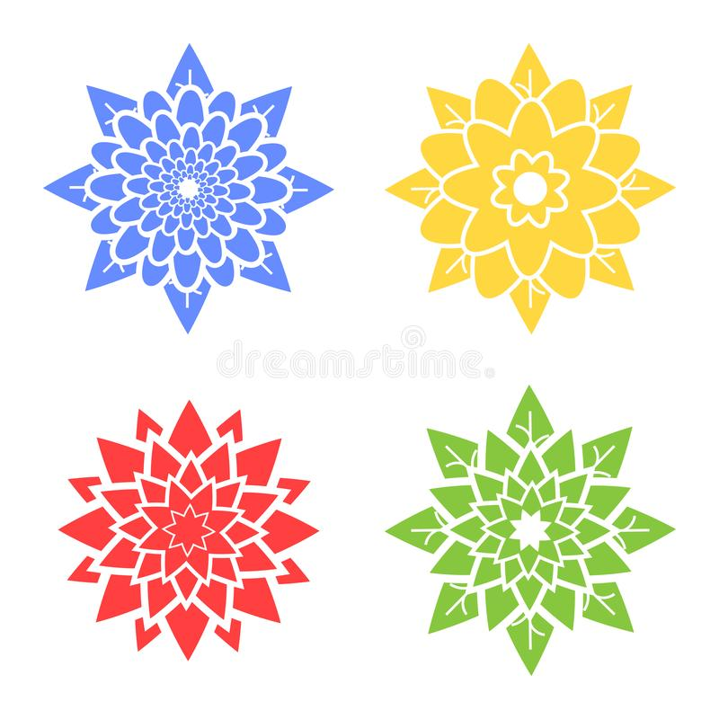Set cztery abstrakcjonistycznej sylwetki kwiaty błękity, czerwień, zieleń, kolor żółty ilustracji