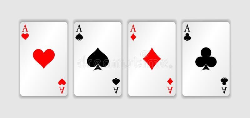 Set cztery as karta do gry kostiumu ręka w pokera zwycięstwo Set serca, rydle, kluby i karowy as, royalty ilustracja