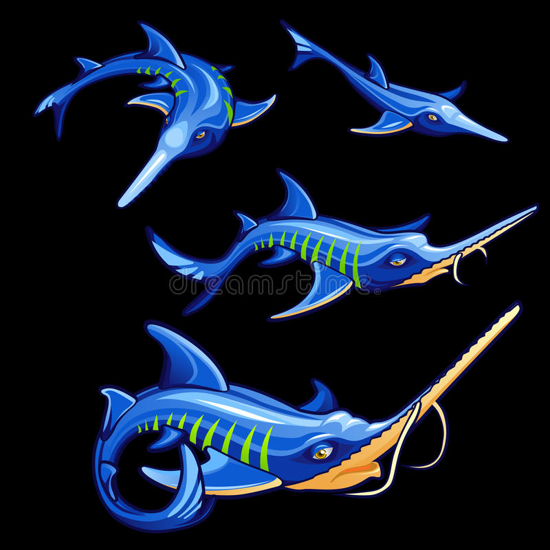 Set cztery błękitnego swordfishes, postać z kreskówki royalty ilustracja