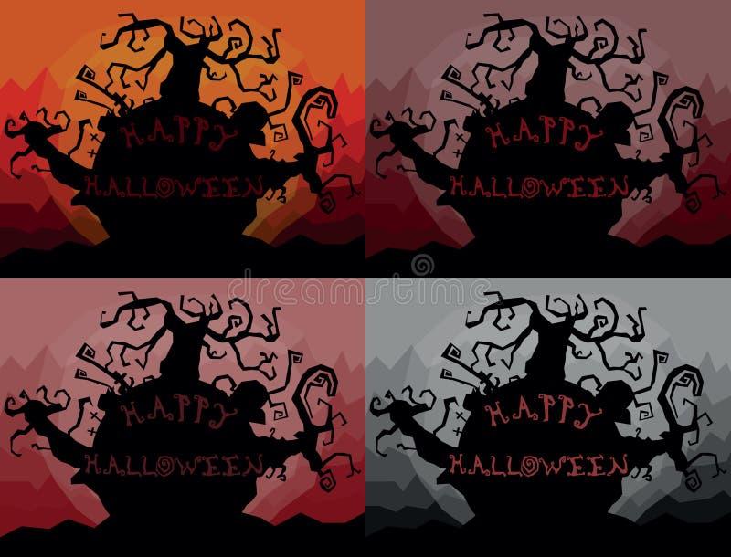Set cztery barwił szczęśliwe Halloween krajobrazu ilustracje ilustracja wektor
