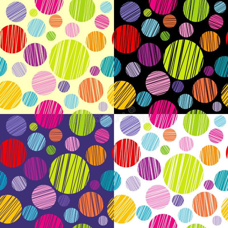 Set cztery bezszwowego pattersns z round kształtami ilustracji