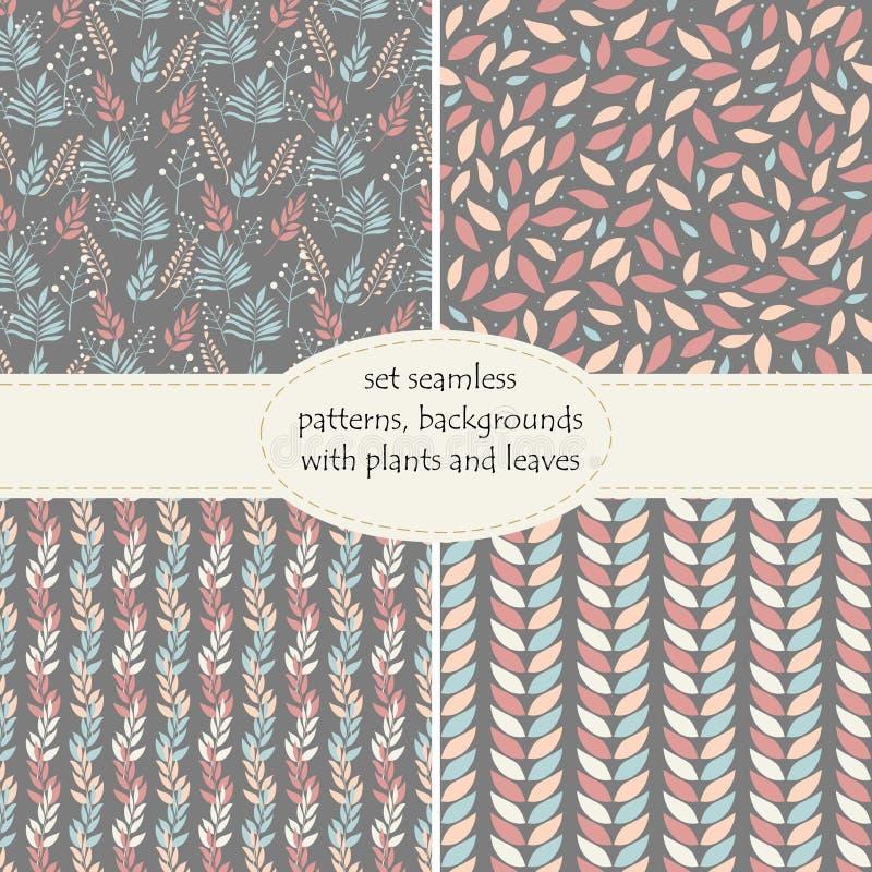 Set cztery bezszwowego tła, wzory rośliny, liście i gałąź liście w pastelowych kolorach na grafitowym tle, royalty ilustracja