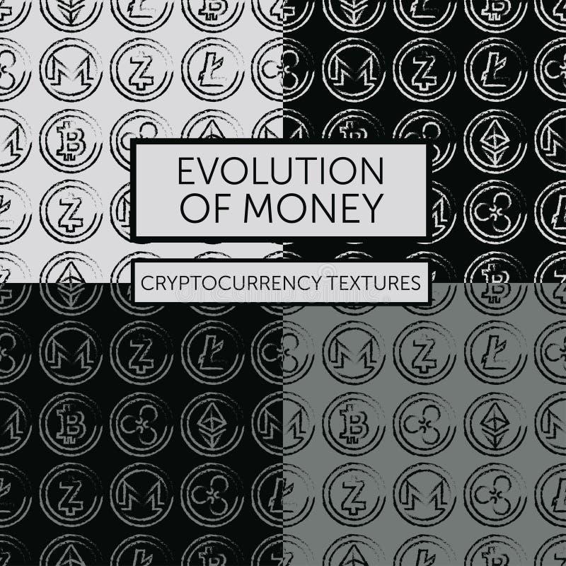 Set cztery bezszwowego wzoru z cryptocurrency logotypami ilustracji